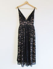 Fame And Partners Size 4 Black Beige Lace Fine Strap Midi Cocktail Evening Dress
