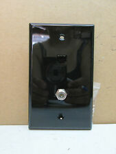 Premier Telephone Phone Jack and TV Coaxial Cable Combo Wall Plate - Black