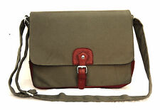 """Quality Canvas Laptop Notebook Bag Macbook 13"""" Multi Function Satchel Army Green"""