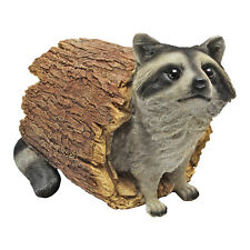 Furry Friend Wildlife Raccoon in Hollow Log Woodland Garden Animal Statue