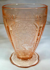 CHERRY BLOSSOM PINK 8-OUNCE ALL OVER PATTERN SCALLOPED-FOOT WATER TUMBLER!