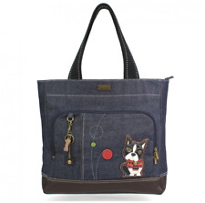 NEW CHALA BLUE DENIM BOSTON TERRIER POCKET TOTE PURSE HANDBAG CANVAS SHOPPER