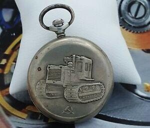 Pocket Watch MOLNIJA TRACTOR 3602 Rare Vintage USSR Watch Soviet Watch 18 Jewels