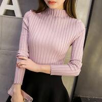Women Knitted Sweater Half Turtleneck Jumper Tops Solid Color Slim Pullover Knit