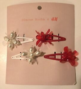Simone Rocha x H&M 4-pack Decorated Hair Clips Red Pearl Flower Barrette IN HAND