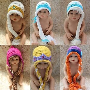 New Handmade Queen Elsa Princess Anna Knit Crochet Baby Hat Cap Photo Prop 0-5T