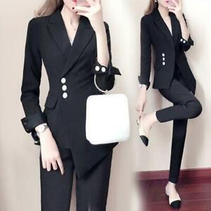 Womens Fashion Lapel Slim Fit Blazer Suits Pencil Pants Jacket Trousers Set 2Pcs