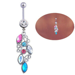 Unique Mixed Color Rhinestone Jewelry Navel Body Piercing Belly Button Rings