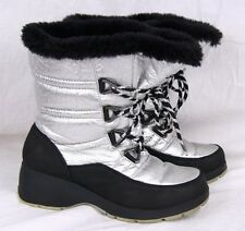 SPORTO Black Shiny Silver Snow Winter Lace up Pull on Mid Calf Moon Boot Women 7