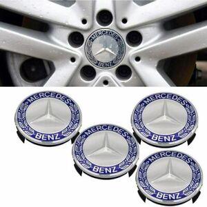4pcs/Set 75mm Center Wheel Caps Rim Emblem Logo Dark Blue For Mercedes Benz C200