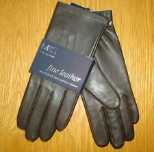 M&S Collection Leather Gloves Chocolate Size M