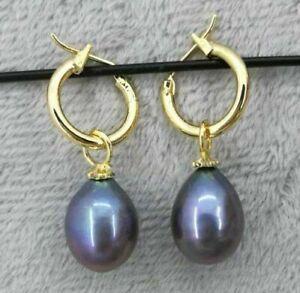 14K GOLD Natural 10X12 MM AAA  black south sea pearl earrings