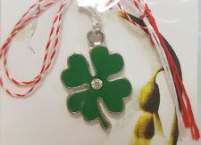 Martisor, Charm, Anhänger als Kleeblatt grün mit Strass-Stein, handmade