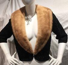 60s Black RIBBON Jacket With Mink Collar