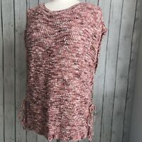LUCKY BRAND Loose Knit Sleeveless Slouchy Sweater Womens Small Pink Orange Coral
