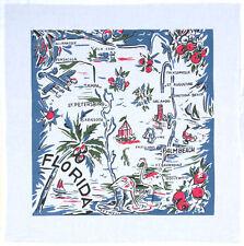 Florida Blue Map Tea Towel Dish Cloth 50s Rockabilly PinUp Flamingo Vintage