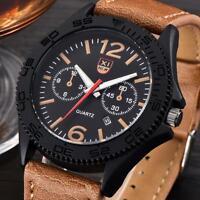 Fashion Men's Stainless Steel Date Military Watch Waterproof Quartz Wrist Watch