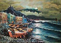 Quadro dipinto olio tela firmato Colucci Paesaggio Marina Notturno in costiera