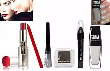 Loreal & Maybelline 6pc Dp Red Black & Silver Shadow Lipstick Varnish Makeup Set