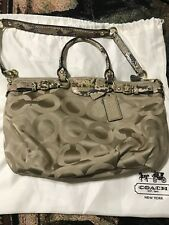 Coach Madison gold Op Art Sophia Shoulder Tote Bag Purse with snake leather arms