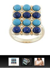 Tehya Oyama Turquois Round  Turquoise Round Lapis 18k Gold over Brass Ring 10