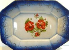 """Antique Large Flow Blue Platter With Red Poppies Collectible Display 16"""" L"""