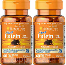 2X Puritan's Pride Lutigold Lutein 20 mg total 120 softgels Eye Health USA