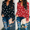 Valentine's Day Women Heart Print Casual V-neck Tops Long Sleeve T-Shirt Blouse