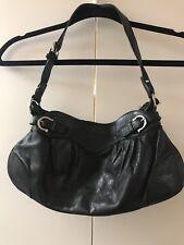 Salvatore Ferragamo Black Leather Pleated Shoulder Bag