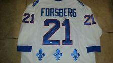 Peter Forsberg signed Nordiques CCM Jersey. JSA cert. MVP & HOF