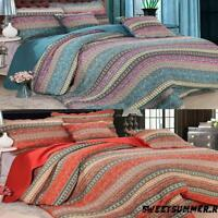 Coverlet Blanket Quilted Throw Bedspread Cotton Queen King Size Set Vintage SED