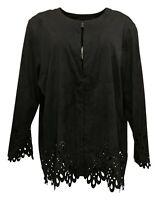 Bob Mackie Women's Sz XL Faux Suede Jacket with Cut Out Detail Black A298677
