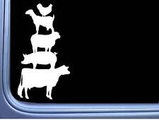 "Farm Animals L975 8"" Sticker decal stacked cow sheep goat pig chicken love"