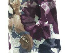Oscar De La Renta Purple Silver Floral Abstract Made In USA Necktie Tie New