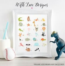 ANIMAL SAFARI ZOO ALPHABET LEARNING BEDROOM PERSONALISED PRINT A5 A4 A3 GIFT