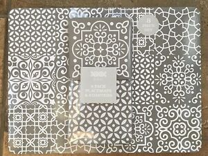 Set of 4 Placemats & 4 Coasters Grey & White Geo Geometric Tile Print Wipe Clean