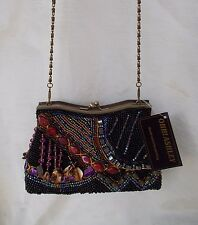 New Women's Ohh Ashley Fully Beaded Frame & Shoulder Evening Bag Black H22065