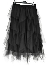 FABULOUS GERMAN MOONSHINE LAGENLOOK TULLE SKIRT L/XL JET BLACK SALE