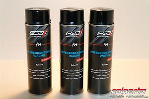 CAR1® 3x 500ml Unterbodenschutz Wachs Spraydose schwarz CO 3608