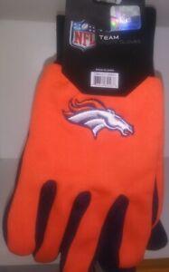 NFL Officially Licensed Denver Broncos Adult Utility Gloves Non Slip Texture