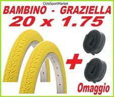 2 x Copertone 20 X 1.75 GIALLO bici GRAZIELLA / BAMBINO + 2 x CAMERA D'ARIA