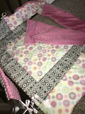 Handmade PINK, GRAY, HEARTS baby bedding, bumper pads and quilt, SOFT! NEW