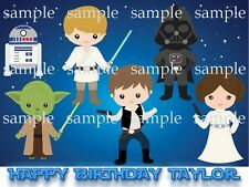 Cute STAR WARS Personalized Edible ICING Image Decoration Birthday CAKE Topper