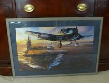 VITG. FRAMED, MATTED PUZZLE PRINT WW2 NAVY HELLCAT TAKING OFF FROM CARRIER