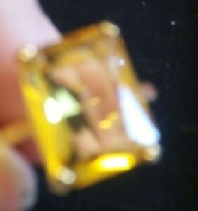 18 k yellow Gold Overlay on silver emerald Cut 14ct Citrine Ring size Q1/2