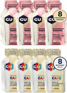 GU Energy Sports Nutrition Variety Pack: 8 Strawberry Banana + 8 Birthday Cake