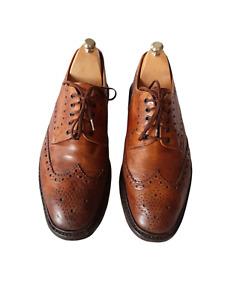 LOAKE 1880 BROWN BROWN TAN LEATHER BROGUE DERBY SHOES-UK 8-STANDARD WIDTH-UK