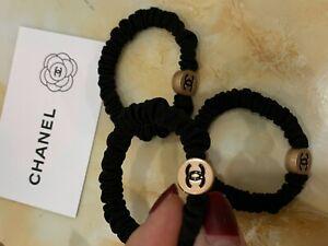 *US SELLER* Chanel CC VIP Gift Velvet Hair Tie With Gold