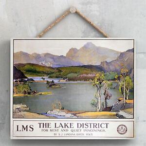 THE LAKE DISTRICT SJ LAMORNA BIRCH ORIGINAL NATIONAL RAILWAY POSTER ON A PLAQUE