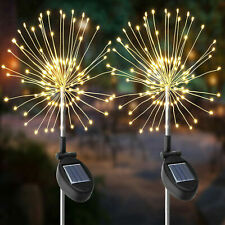 2 x 120 Led Solar Powered Flower Firework Lamp Garden String Plant Path Lights